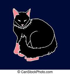 gato azul, experiência preta, dormir