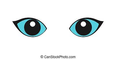 gato azul, olhos, experiência., branca