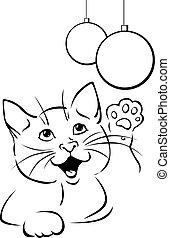 gato, bola, tocando, pretas, ilustração, -, esboço, vetorial, xmas