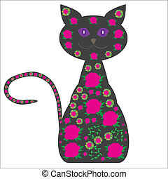 gato, bonito, silueta, flo