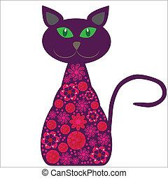 gato, bonito, silueta, flores, seu, fundo, isolado, desenho, vetorial, branca