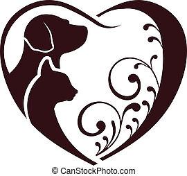 gato, cão, ame coração