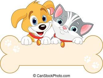 gato, cão, sinal