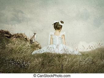 gato, campo, niña, sentado