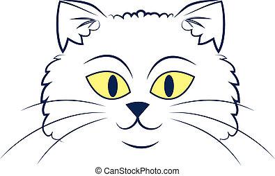 gato, cara, contorno