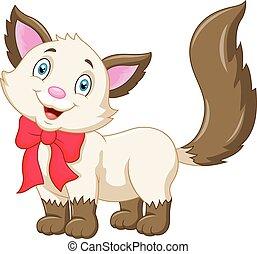 gato, caricatura, cute