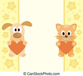 gato, caricatura, fundo, cão