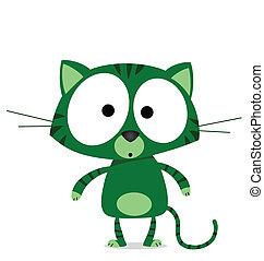 gato, caricatura, verde