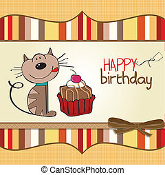 gato, cartão aniversário, saudação