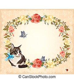 gato, cartão, rosas, saudação, borboletas