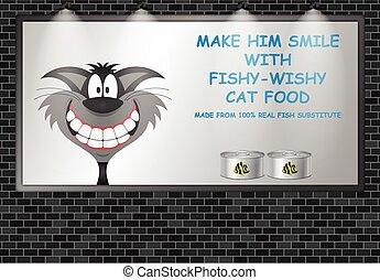 gato, cartelera, iluminado, publicidad, anuncio, alimento