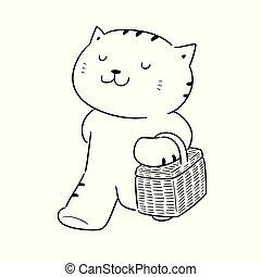 gato, cesta, vector, mimbre