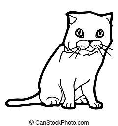 gato, colorido, vector, página