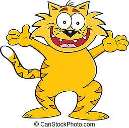 gato, con, brazos extendidos