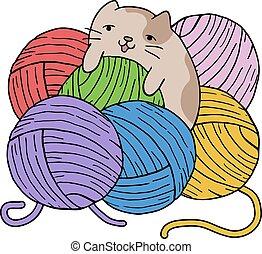gato, con, color, pelotas, de, lana