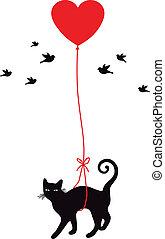 gato, con, corazón, globo