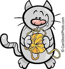 gato, con, hilo, caricatura, ilustración