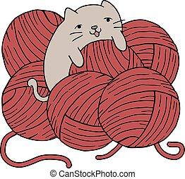 gato, con, pelotas, de, lana