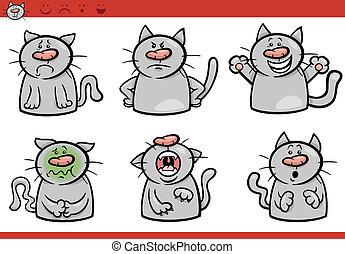 gato, conjunto, caricatura, ilustración, emociones