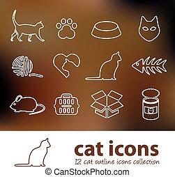 gato, contorno, iconos