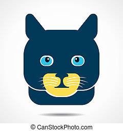 gato, criativo, rosto