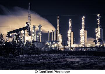 gato de la bomba, y, refinería, en, night.