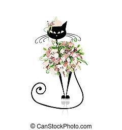 gato, diseño, encanto, floral, su, ropa