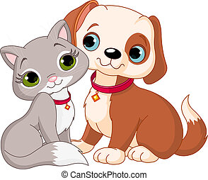 gato, e, cão