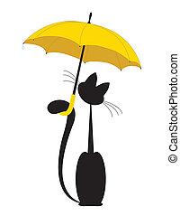 gato, em, guarda-chuva