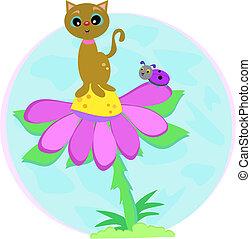 gato, en, flor, con, error de dama