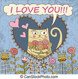 gato, flujo, card., día, valentino