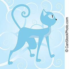 gato, fundo, espiral azul