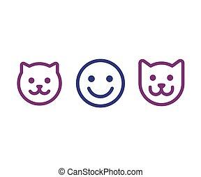gato, hombre, cara, icono de perro