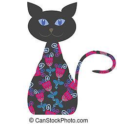 gato, ilustração, flores, vetorial, silueta