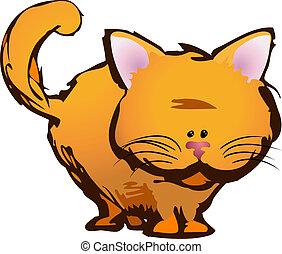 gato, ilustración, lindo