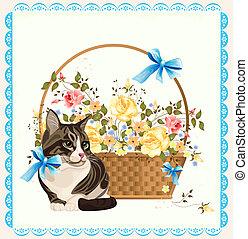 gato, ilustración, vendimia