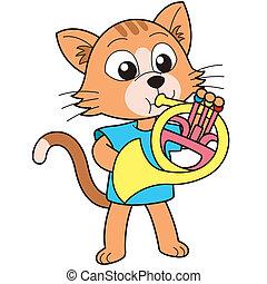 gato, juego, caricatura, cuerno francés