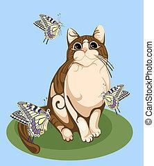gato, juego, con, mariposas