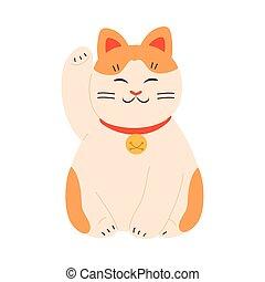 gato, levantado, dorado, japonés, maneki, pata, neko