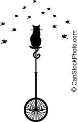 gato, ligado, monocycle, com, pássaros