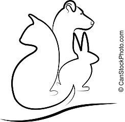 gato, logotipo, coelhinho, cão, silueta