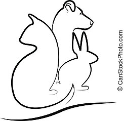 gato, logotipo, conejito, perro, silueta