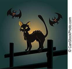 gato, murciélago, cerca, negro, halloween, ilustración, night., vector, vampiro