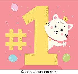 gato, número, ilustración, uno