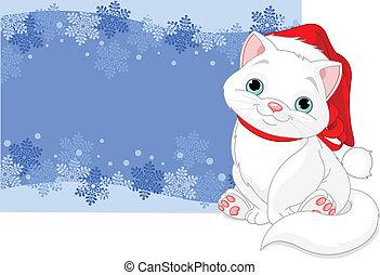 gato, navidad, plano de fondo