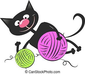 gato negro, con, un, pelota de lana
