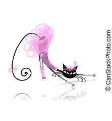 gato negro, en, moda, ropa, para, su, diseño