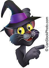 gato negro, sombrero de bruja