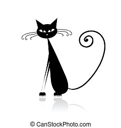 gato, negro, su, diseño, divertido
