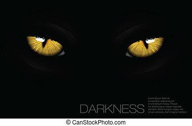 gato, ojos, en, oscuridad